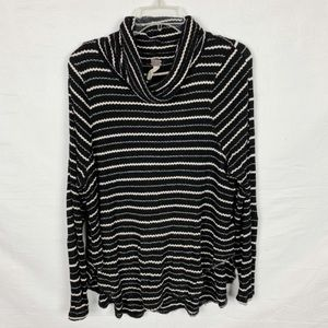 FREE PEOPLE Cowlneck Stripped Long Sleeve S